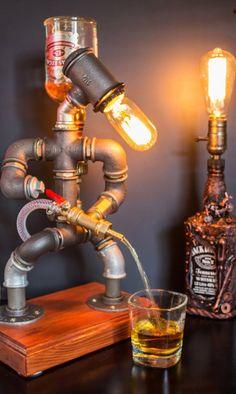CHRISTMAS Gift for Him, Liquor alcohol whisky dispenser, Firefighter Gift, Jack Daniels Birthday gift, Steampunk Fireman pipe robot lamp - wood bar