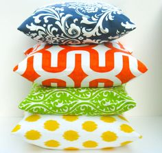 Throw Pillow Covers 18x18  Bright Pillow Lime Green Yellow Ikat Orange Pillow Navy Pillow Pillow Sets Printed fabric front and back