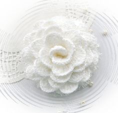 Crochet Brooch  White Rose by CraftsbySigita on Etsy,