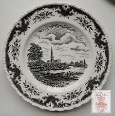 Vintage English China Black Transferware Plate John Constable Fishing: