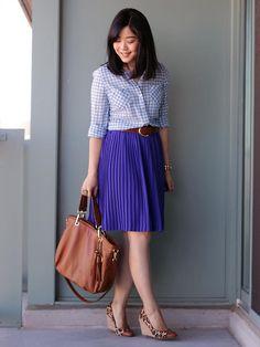 gingham / cobalt pleated skirt / leopard