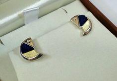 Vintage Ohrstecker - Ohrstecker Ohrringe Lapislazuli vergoldet SO186 - ein Designerstück von Atelier-Regina bei DaWanda