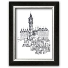Art.com ''Big Ben'' Framed Art Print By Avery Tillmon, White ($70) ❤ liked on Polyvore featuring home, home decor, wall art, white, black and white home decor, framed wall art, black & white wall art, white framed wall art and black and white wall art