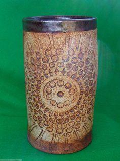Vintage Quantock Pottery Tall Vase Geometric Pattern Retro 1970's Hippy Rustic   eBay