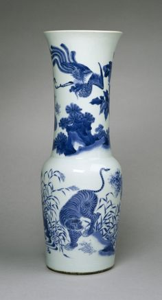 Beaker-Shaped Vase with Four Animals       Chinese (Artist)  ca. 1640-1660 porcelain with underglaze blue (Ceramics)