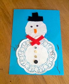 Snowman Paper Doily Craft Paper Doily Crafts, Doilies Crafts, Paper Doilies, Snowman, Christmas Ornaments, Holiday Decor, Jelly, How To Make, Home Decor