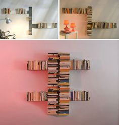 movie shelf units, diy invisible shelves. On living room wall opposite the tv
