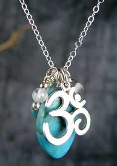 yoga jewelry om ohm turquoise sterling silver by YogaJewelryShop, $76.00