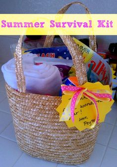 Thank a teacher at the end of the school year with a summer survival kit tote.
