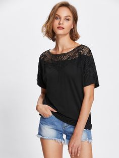 Shein Lace Applique Yoke Tee