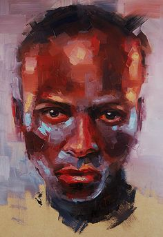 """Oddy-Knocky"" - Alessio Radice, oil on panel, 2013 {figurative #expressionist male head asymmetrical grunge man face portrait painting}"