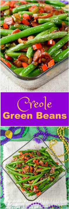 Creole Green Beans make a perfect side dish to any Mardi Gras celebration meal. Since there is likely a 100% chance I won't be making it to New Orleans for Mardi Gras this year, it does not stop me from celebrating at home by making some fabulous cajun / creole recipes. via @flavormosaic
