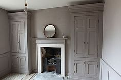 love this, 2 integrated armoires painted grayish prune like wall, one on each side of bedroom fireplace Georgian Interiors, Georgian Homes, Victorian Homes, Victorian Bedroom, Built In Cupboards, Bedroom Cupboards, Grey Cupboards, Painted Cupboards, Style At Home