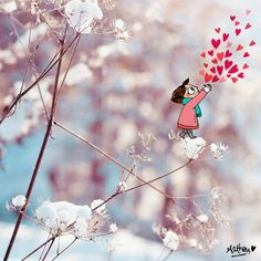 viens on s'aime - neige coeurs - by Mathou