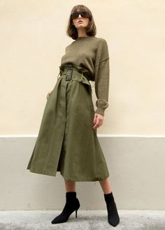 Khaki Green Belted Midi Skirt – The Frankie Shop