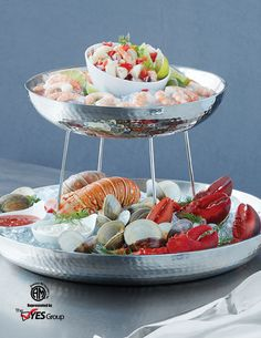 Double-Wall Hammered Stainless Steel Seafood Tray by American Metalcraft Inc.