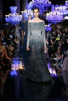 ELIE SAAB Haute Couture Fall Winter 2014-2015 long sleeved off the shoulder gown