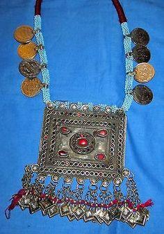 "Necklace Medallion Rectangle Vintage Afghan Kuchi Gemstone Coin Tribal Alpaca Silver 20"" long 3"" x 4"""