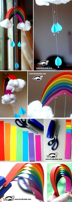 14 DIY mobile ideas for baby& happiness - DIY rainbow pendant tutorial – children – paper – decoration – kids – Rainbow – decorat - Projects For Kids, Diy For Kids, Craft Projects, Crafts For Kids, Fun Crafts, Diy And Crafts, Arts And Crafts, Paper Crafts, Paper Toys