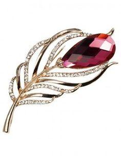 Dahlia Women's Brooch Pin - Phoenix Tail Crystal - Red