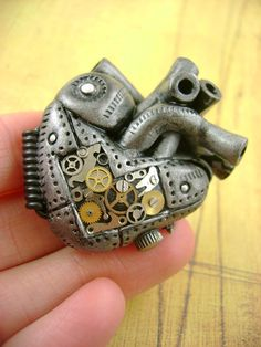 "The Original ""My Heart Ticks"" - Industrial Heart No.1 - Anatomical Steampunk Heart - Pendant / Necklace"