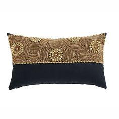 Coussin à perles en coton noir 30 x 50 cm PAGALA
