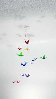 Colorful Baby Mobile -Unique Nursery Decor, Kinetic Art in Bright Colors Clear Colored Origami Paper Origami Paper Crane, Paper Crafts Origami, Paper Cranes, Nursery Decor, Room Decor, Nursery Ideas, Nursery Inspiration, Travel Inspiration, Colored Acrylic Sheets