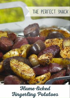 Meet your new favorite summer snack: Flame-licked Fingerling Potatoes. And don't forget the Spud Rub dip, made with onion powder, lemon pepper, smoked paprika and cumin. Potato Recipes, Fish Recipes, Whole Food Recipes, Chicken Recipes, Recipies, Cake Ingredients, Homemade Taco Seasoning, Homemade Tacos