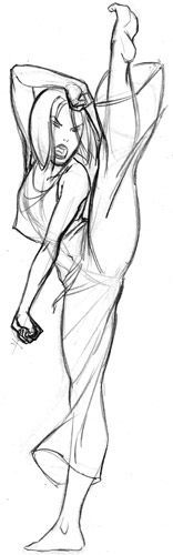 sketch karate pose - Google Search