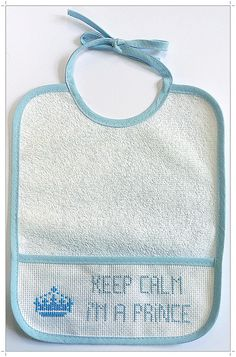 keep calm babete ponto cruz cross stitch bib