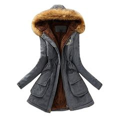 Plus size Winter CoatMOKAO Womens Warm Fur Collar Long Coat Hooded Slim Fit Jacket Parka Outwear Coats XXXL Gray * See this great product. (This is an affiliate link)