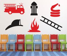 Wall Decal - Fireman Fire Truck Decal DB205 by designedbeginnings on Etsy https://www.etsy.com/listing/91668888/wall-decal-fireman-fire-truck-decal