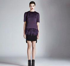 "Dress to impress!   Dark violet duchesse top ""Arroux"" with marabú plumage"