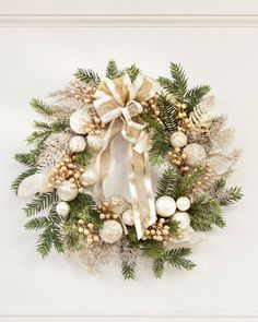 Pearl & Gold Elegance Artificial Holiday Wreath at Petals / OfficeScapesDirect Christmas Swags, Silver Christmas, Outdoor Christmas, Holiday Wreaths, Rustic Christmas, Christmas Home, Christmas Holidays, Christmas Crafts, Turquoise Christmas