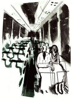 Randall Casaer, bar, houtskool, black and white, sketch,