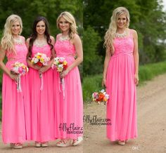 2016 Fuchsia Gorgeous Long Country Bridesmaid Dresses Cheap Elegant Spaghetti Straps Cutaway Side Chiffon Long Backless Prom Party Dresses Bridesmaid Maxi Dresses Bridesmaid Short Dresses From Allanhu, $127.75| Dhgate.Com