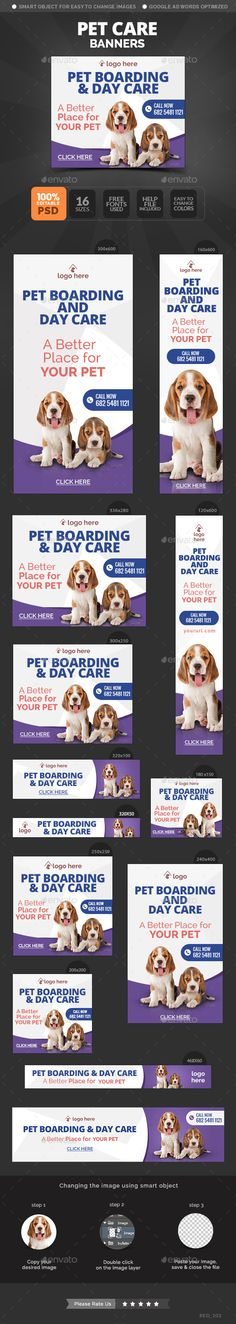 Pet Care Banners Template #design Download: http://graphicriver.net/item/pet-care-banners/11171255?ref=ksioks