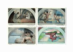 4 Library of Congress Vintage Postcards c1930s, Evolution of the Book, Washington DC, Antique Unused Ephemera, Lot 3, FREE SHIPPING $9.75