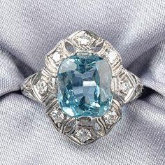 Art Deco Platinum, Aquamarine, and Diamond Ring, Tiffany & Co.