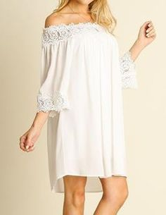 Leave Me Speechless Ivory Off-The-Shoulder Lace Swing Dress