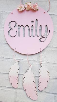 Handpainted and embellished with floral roses and hanging ombre glitter feathers Measures Can be made in other colours. Please send name required when you purchase. Wood Crafts, Diy And Crafts, Crafts For Kids, Paper Crafts, Nursery Wall Art, Nursery Decor, Feather Wall Decor, Pastel Roses, Kids Wood