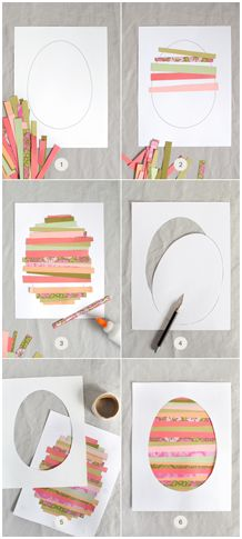Easter egg card making photo tutorial: PAPER STRIP EASTER EGG ... great way to use bright and pretty paper scraps ...