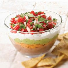 Gluten Free  Mexican 5-Layer Dip  Finally! A guilt-free 5-layer party dip! Have a fiesta with fresh flavors that won't make you hesitate to dip your chip again and again.