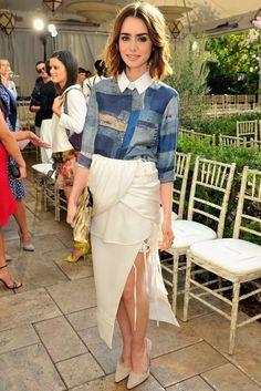 Lily Collins wearing Altuzarra Spring 2014 Contrast Collar Print Shirt Altuzarra Spring 2014 Drape Side Slit Fringe Skirt Altuzarra Spring 2014 Suede Slingbacks