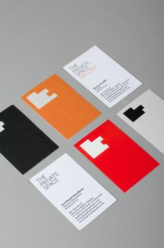 "Art direction and integral design for The Private Space, Barcelona. The identity is based upon the idea of ""space"", creating an abstract form through the letters that form the brand's name. The Private Space is a meeting point for art and design lovers. Graphic Design Branding, Corporate Design, Identity Design, Business Card Design, Typography Design, Logo Design, Corporate Identity, Identity Branding, Visual Identity"