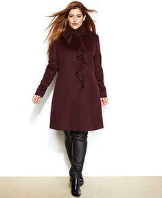 DKNY Plus Size Ruffle-Front Walker Coat - Coats - Women - Macy's