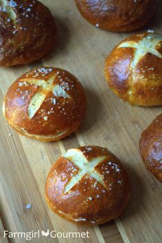 Pretzel Slider Buns (from Farmgirl Gourmet) - Talk about yummy!  I'm going to try these with whole wheat flour, too.