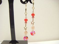 Pink and red dangle earrings cute earrings by Coloramelody