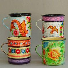 Truck Art steel enamel mugs