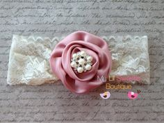 antique rose rosette headband lace by MyLilSweetieBoutique on Etsy